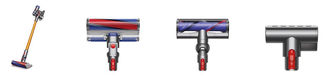 Dyson V8 Absolute porszívó, Padlótisztító szívófej puhasörtéjű forgókefével, Közvetlen meghajtású padlótisztító szívófej motoros forgókefével, Mini szívófej motoros forgókefével
