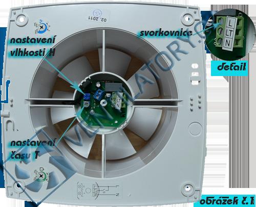 Zapojení ventilátorů s časovačem a hygrostatem č. 1