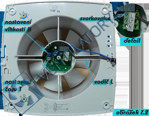 Zapojení ventilátorů s časovým doběhem a hygrostatem č. 2