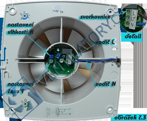 Zapojení ventilátorů s časovačem a čidlem vlhkosti č. 3