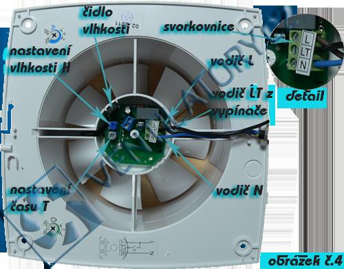 Zapojení ventilátorů s vlhkostním čidlem a časovým spínačem č. 4