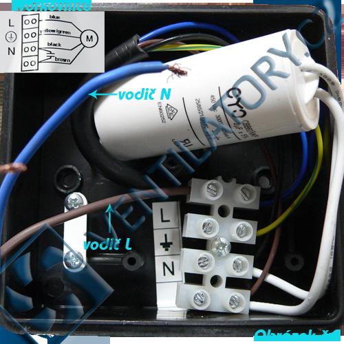 Správné zapojení kovového radiálního potrubního ventilátoru 2