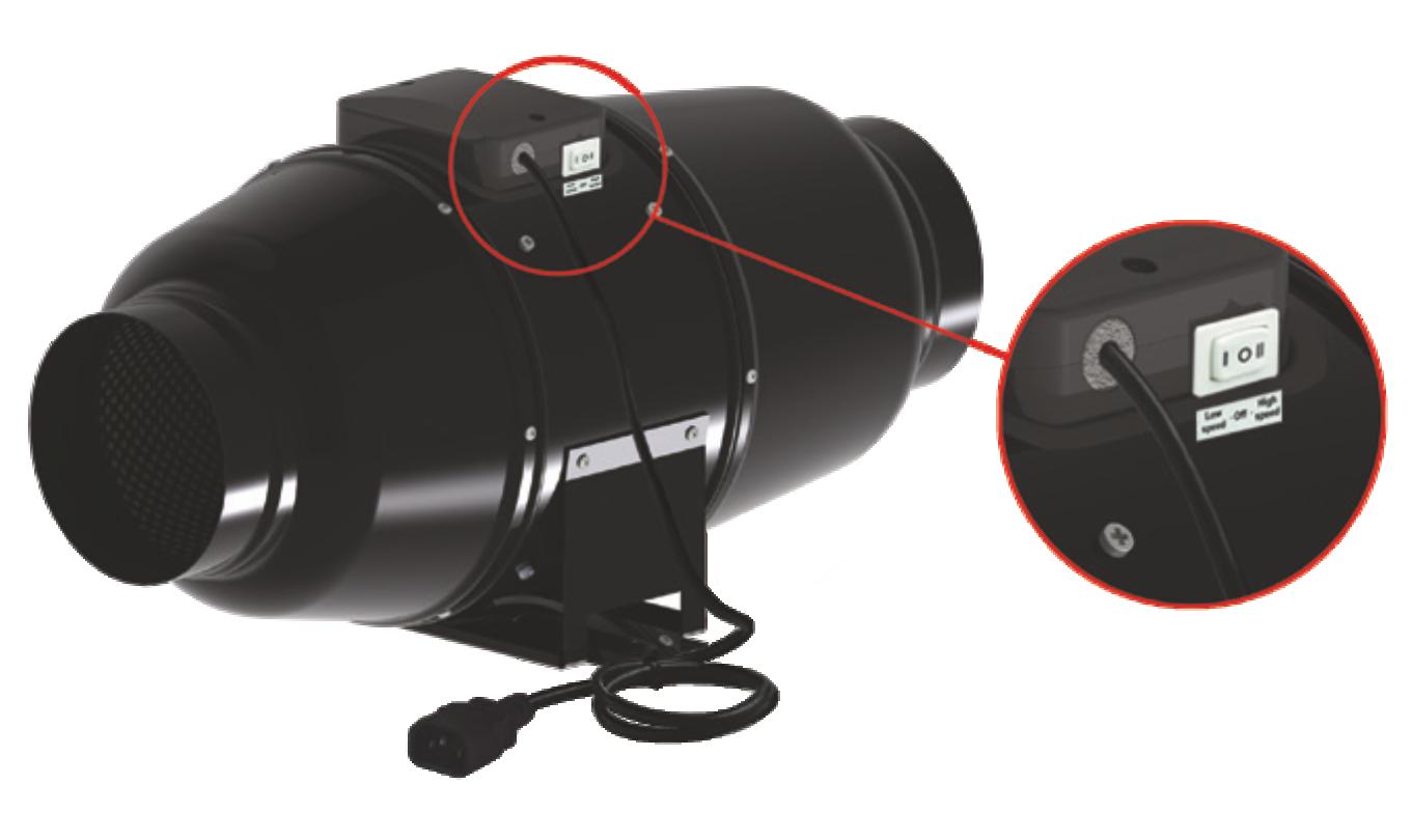 Ovládání rychlosti na těle ventilátoru Dalap AP 100 QUIET