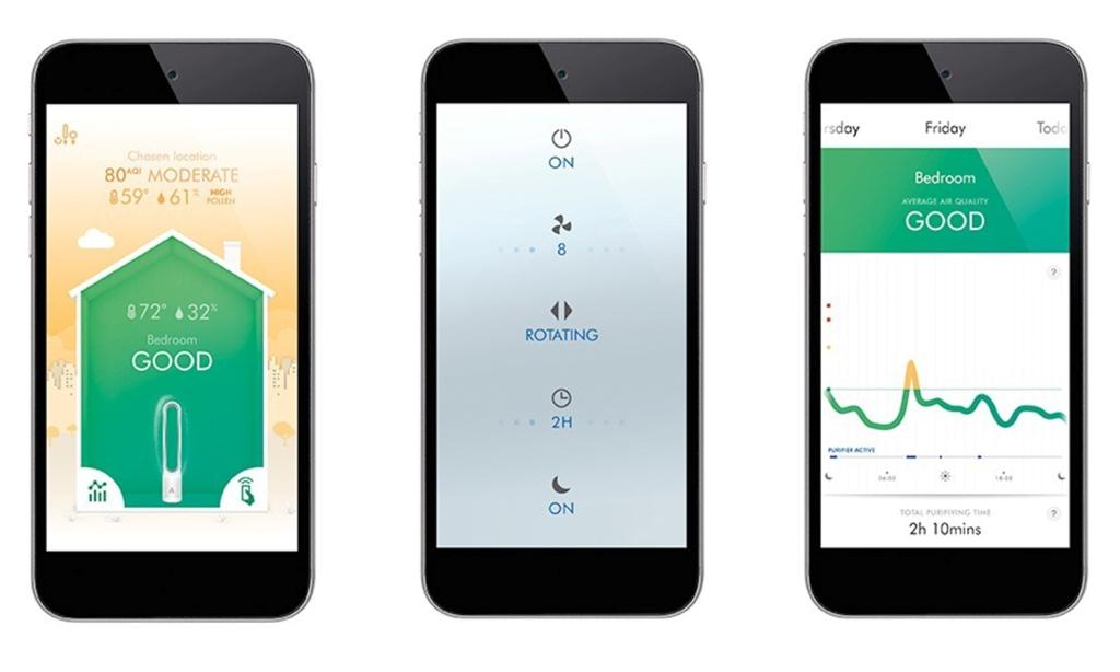 Ovládání chytrým telefonem čističky vzduchu Dyson Pure Cool Link